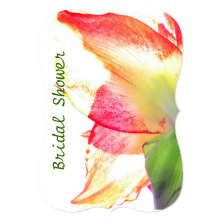 Red Gold Green Amaryllis Abstract Bridal Shower Card