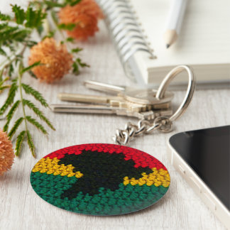 Red Gold Green Black Africa Map Crochet Print on Keychain