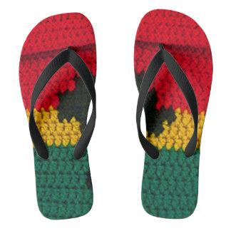 Red Gold Green Black Jamaican Crochet Print on Flip Flops