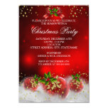 """Red Gold Green Holly Christmas Holiday Party 4.5"""" X 6.25"""" Invitation Card"""