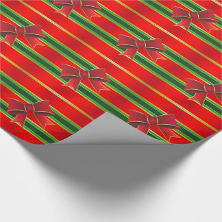 Red, Gold & Green Stripes Wrapping Paper