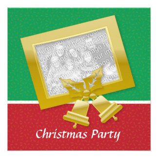 Red Gold Green Xmas party customizable photo Personalized Announcement