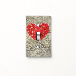 Red & Gold Heart Glam Rustic Love Rustic Valentine Light Switch Cover
