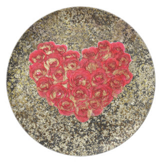 Red & Gold Heart Glam Rustic Love Rustic Valentine Plate