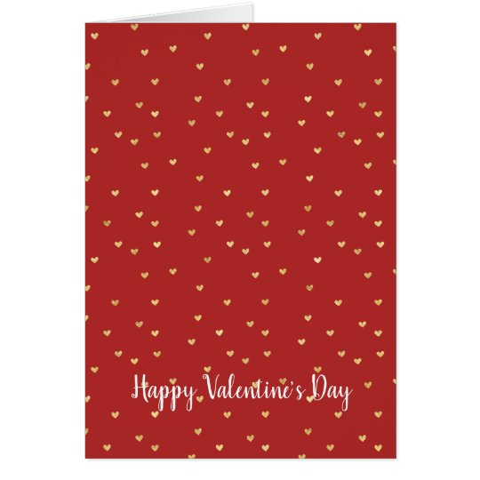 Red Gold Hearts Card