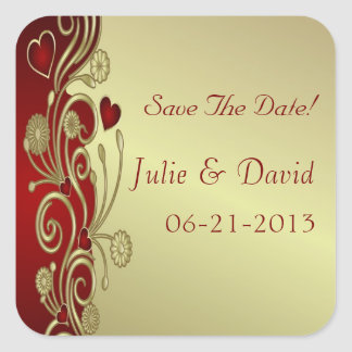 Red & Gold Hearts & Scrolls Save The Date Square Sticker