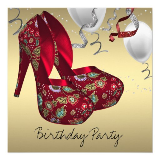 gold high heel shoes birthday 5 25 quot square