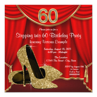 """Red Gold High Heel Stepping into 60 Birthday Party 5.25"""" Square Invitation Card"""