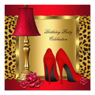 Red Gold High Heels Roses Leopard Birthday Party 2 Card