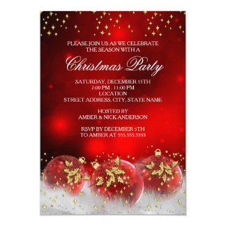 """Red Gold Holly Baubles Christmas Holiday Party 5"""" X 7"""" Invitation Card"""