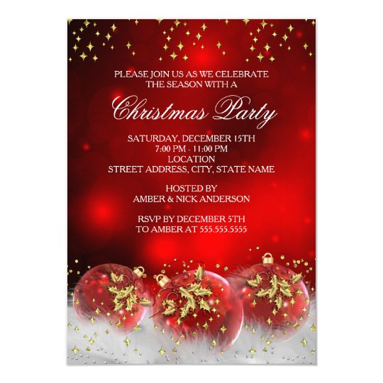 Corporate Christmas Party Idea: Red Gold Holly Baubles Christmas Holiday Party Card
