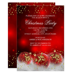 Christmas invitations announcements zazzle ca red gold holly baubles christmas holiday party invitation stopboris Gallery