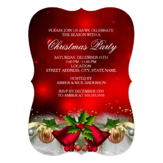Red & Gold Holly Bells Christmas Party Invite