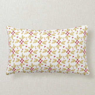 Red & Gold Holly Berries & Leaves in Watercolor Lumbar Pillow