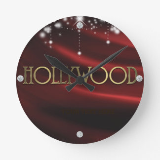 Red & Gold Hollywood Glam Personalized Wall Clock