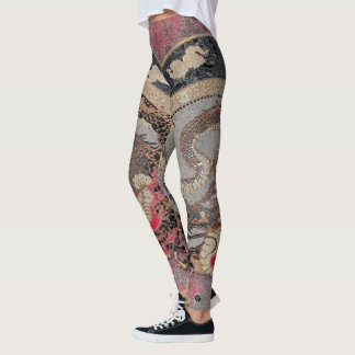 Red & Gold Imperial Dragon Leggings