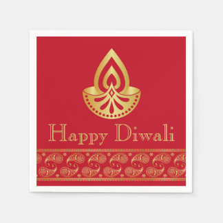Red & Gold Indian Pattern Design Diwali Party Disposable Napkins