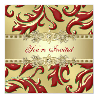 Red Gold Leaf Red Gold Corporate Christmas Party Card