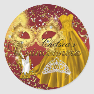 Red & Gold Mask Masquerade Quinceanera Sticker