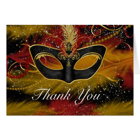 Red & Gold Mask Masquerade Thank You Card