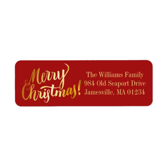 Red & Gold Merry Christmas Return Address Labels