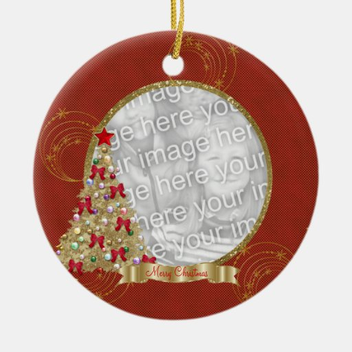 Red & Gold Merry  Christmas Tree Photo Ornament