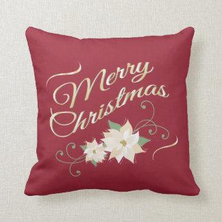 Red & Gold Merry Christmas & White Poinsettias Throw Pillow