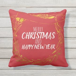 Red Gold Merry Christmas Wreath Outdoor Pillow
