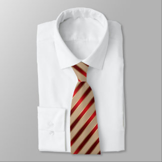 Red & Gold Metallic Diagonal Stripes Tie