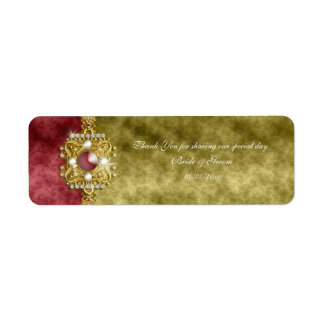 Red gold olive damask wedding