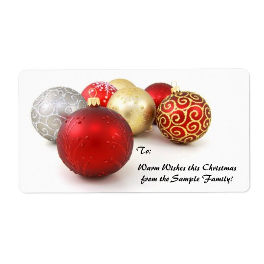 Red, Gold Ornament Custom Christmas Gift Tag Label Shipping Label