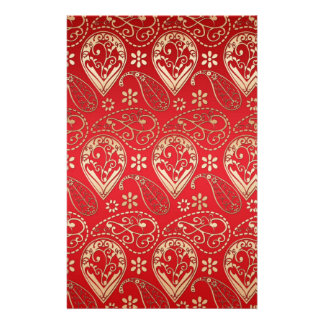 Red & Gold Paisley Design Stationery Design