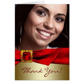 Red Gold Photo Quinceanera Thank You Cards