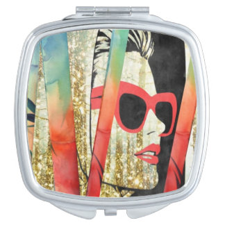 Red Gold Retro Vintage Pin Up Girl compact mirror