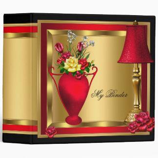 Red Gold Roses Decor Elite Elegant 3 Ring Binder