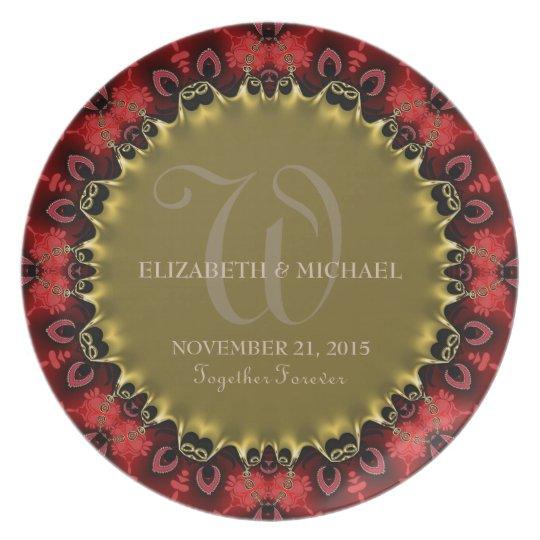 Red & Gold Royale Art Wedding Keepsake Gift Plate
