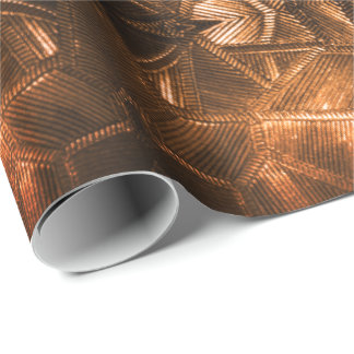 Red Gold Sheen Elegant Textured Glass Look Wrapping Paper