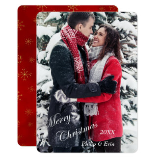 Red Gold Snowflake Photo Template Christmas
