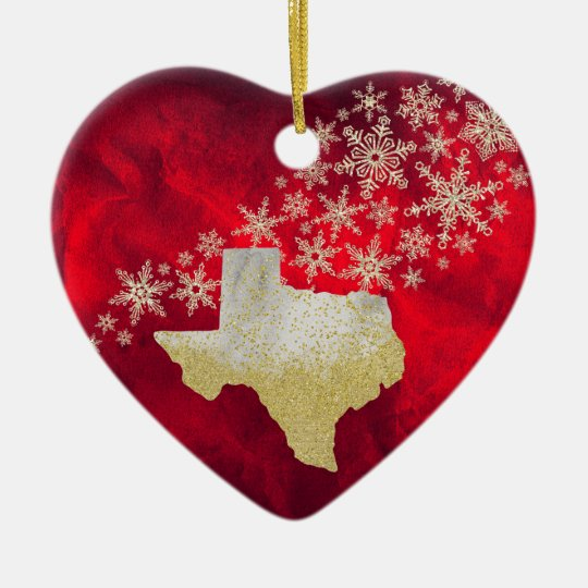 Red Gold Snowflake Texas Heart Ceramic Ornament