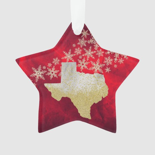 Red Gold Snowflake Texas Star Ornament