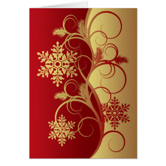 Red/Gold Snowflakes Christmas Card