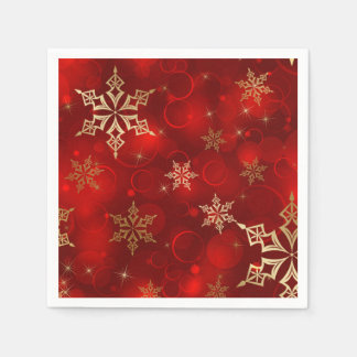 Red & Gold Snowflakes Christmas Holiday Napkins Paper Napkins