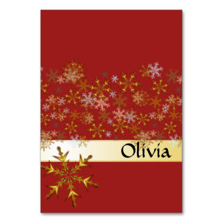 Red Gold Snowflakes Tented Holiday Place Cards Table Cards