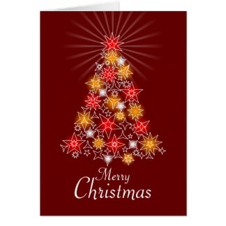 Red & Gold Star Christmas Tree Greeting Card