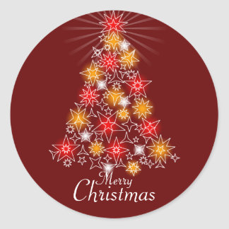 Red & Gold Star Christmas Tree Round Sticker