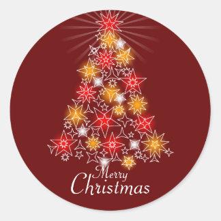 Red & Gold Star Christmas Tree Round Sticker