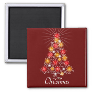 Red & Gold Star Christmas Tree Square Square Magnet