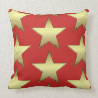 Red Gold Star Throw Pillow