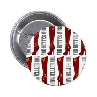 Red/Gold Stiletto Boots 2 Inch Round Button
