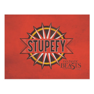 Red & Gold Stupefy Spell Graphic Postcard